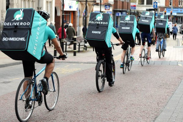 EDITORIAL USE ONLY A team of Deliveroo riders named after Leicester City FC players sets off from Peter Pizzeria in Leicester to deliver freebies to football fans in celebration of the club winning the Barclays Premier League, ahead of the team lifting the trophy this weekend.